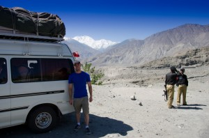 Nick in Jaglot at the Nanga Parbat checkpost enroute to Skardu