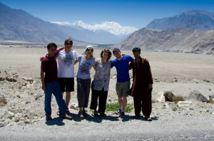 Our group in front of Nanga Parbat. From left to right: Nabi Ansari, Carlos Garranzo, Lina Quesada, Nicholas Rice, and our driver