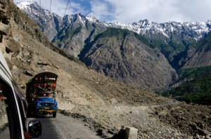 The narrow, dangerous Karakorum Highway close to Skardu.