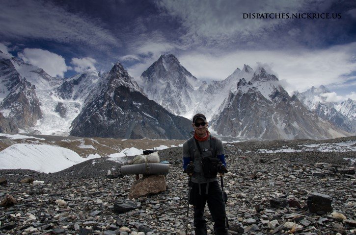 Nick arriving to Concordia with GIV and the eastern flank of Broad Peak visible in the background