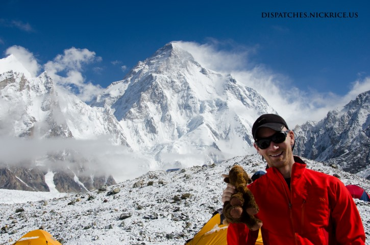 Nick and Base Camp Buffalo in Broad Peak Base Camp with K2 in the background