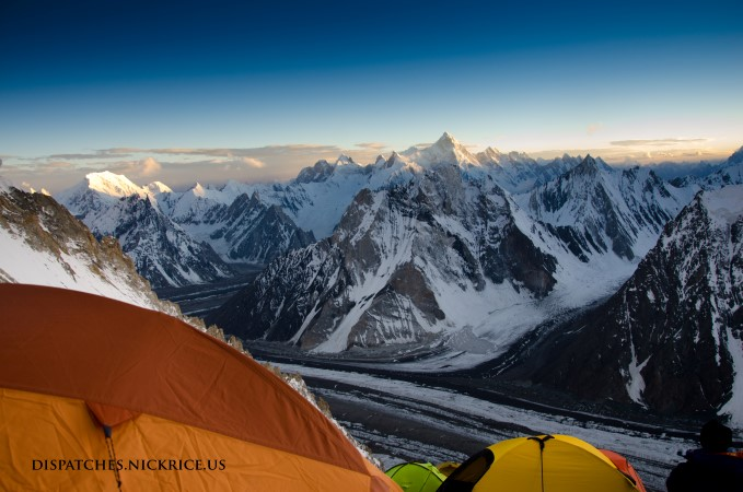Sunset from Camp II with Mashabrum, Chogolisa, Marble Peak and Mitre Peak in view