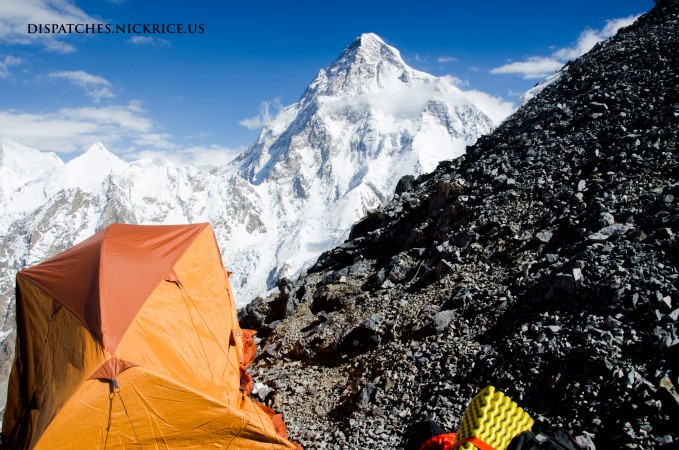 My precarious Camp II tent with the upper flanks of K2 visible in the background.