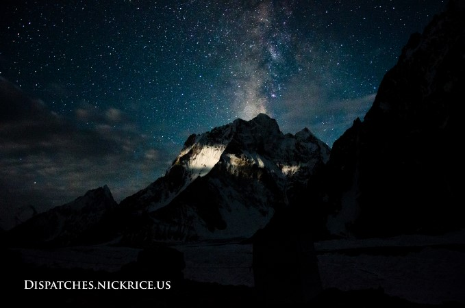 The Milky Way above Marble Peak viewed from Broad Peak base camp