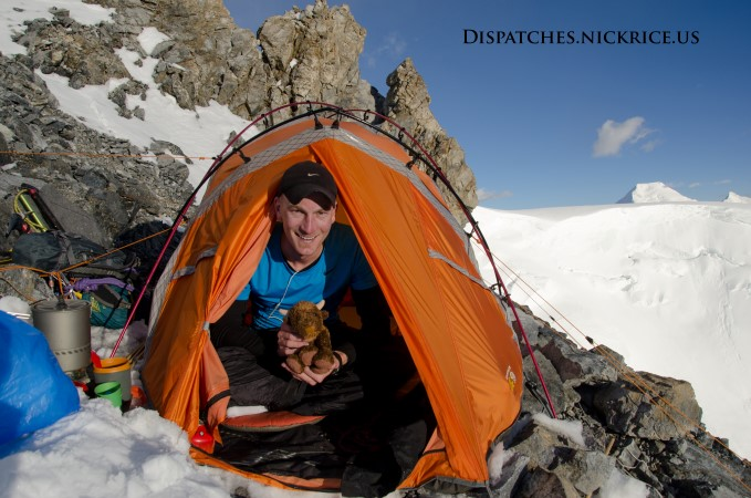 Nick and Base Camp Buffalo (soon to be summit buffalo) in high Camp II