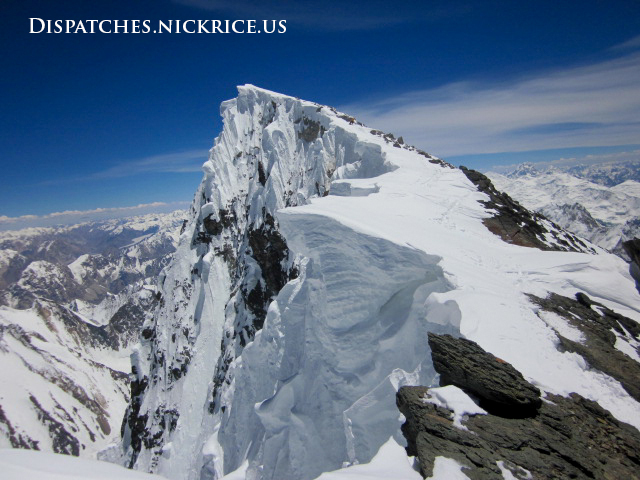 View of the summit ridge and the main summit;