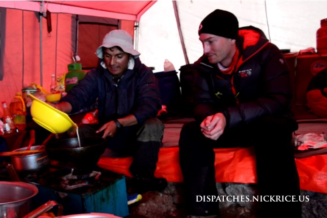 Nick and Ibrahim in the Kitchen Tent in Base Camp