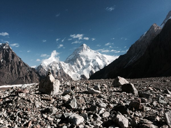K2 viewed from close to Concordia on the trek down to Urdukas