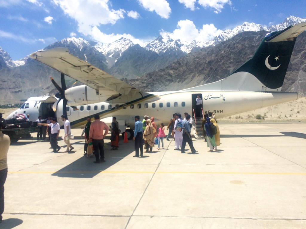 The PIA ATR on the runway in Skardu