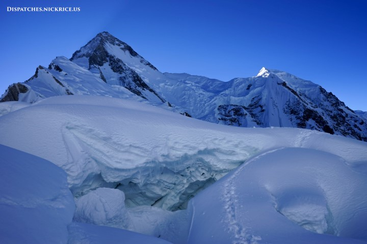 Gasherbrum I viewed from the descent from Camp I with one of the countless massive crevasses in the foreground
