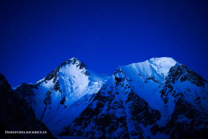 Gasherbrum I on a clear night viewed from Base Camp
