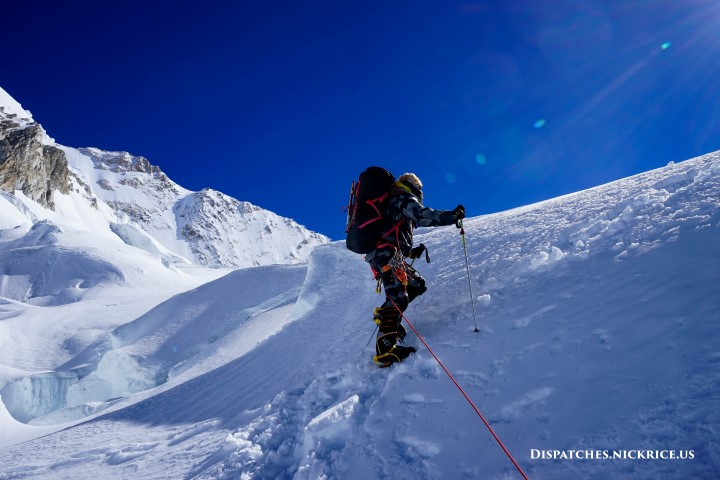 Simone climbing through the ice fall enroute to Camp II (6417m/21,052ft)