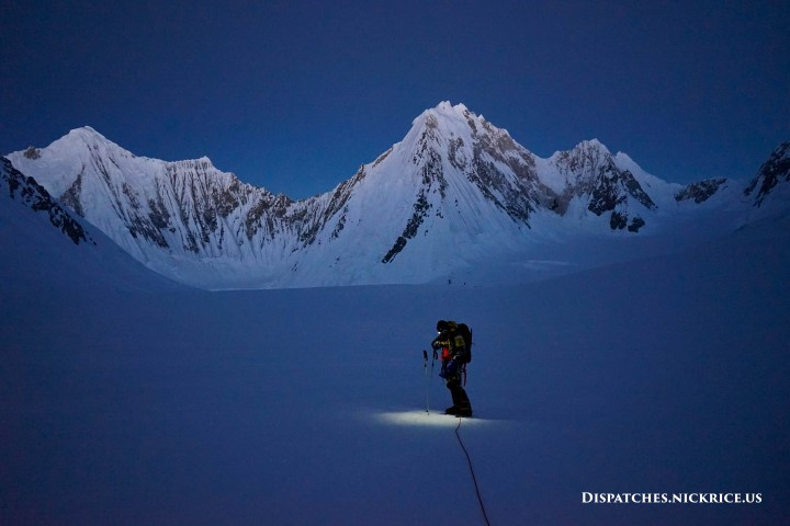 Simone descending toward Camp I (6000m/19,685ft) in the pre-dawn hours of the morning.