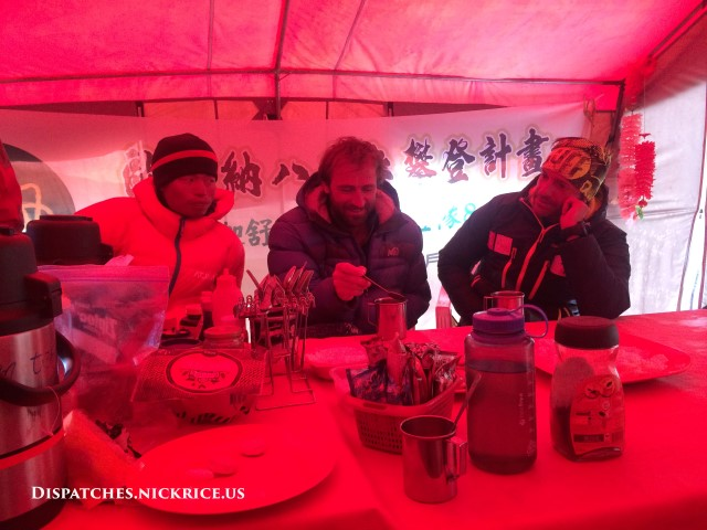 Gasherbrum I climbers meeting in the Taiwanese Camp
