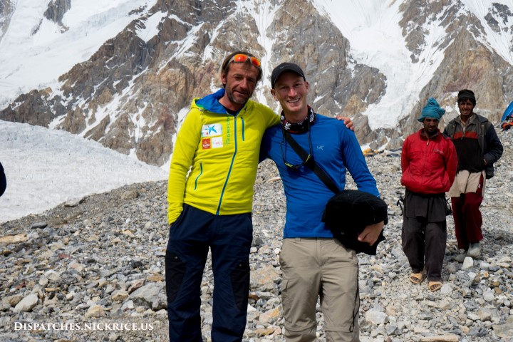 Ferran (after a successful summit bid) and Nick in Gasherbrum Base Camp