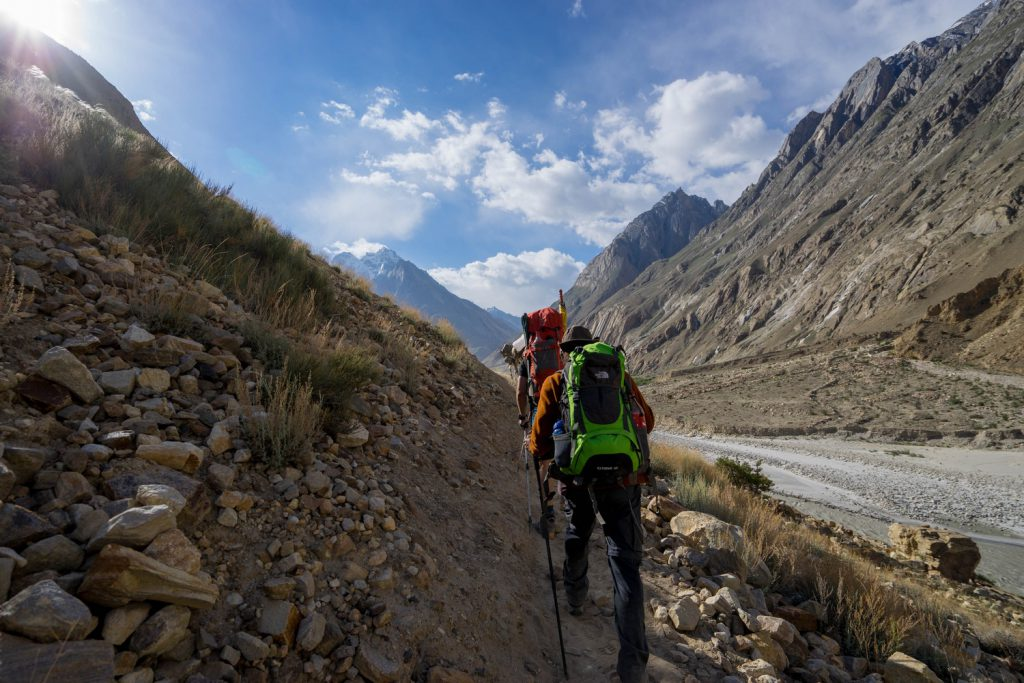 Climbers, pack animals, and porters trekking to Paiju