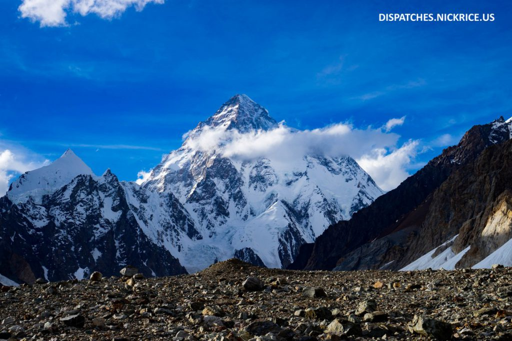 The first view of K2 from close to Broad Peak Base Camp