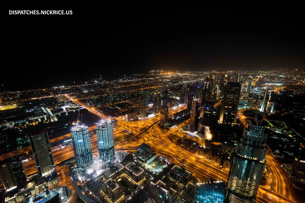 Dubai viewed from the Burj Khalifa. I was lucky enough to have a 7 hour layover in Dubai and used the time to go see the city