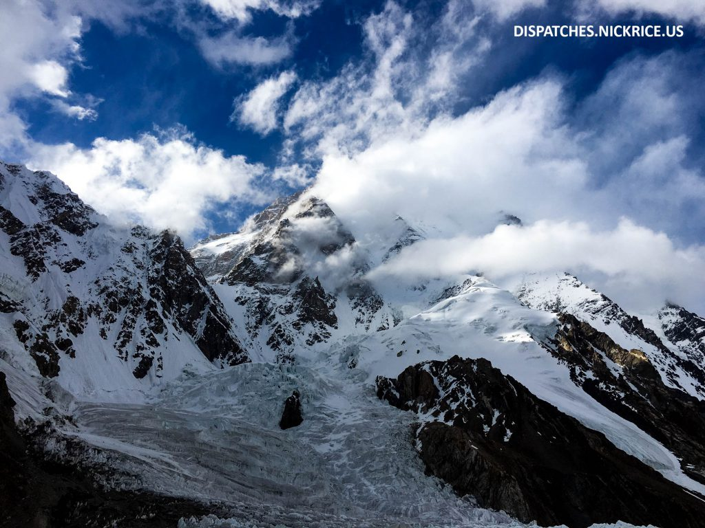 A stormy K2 viewed from Base Camp