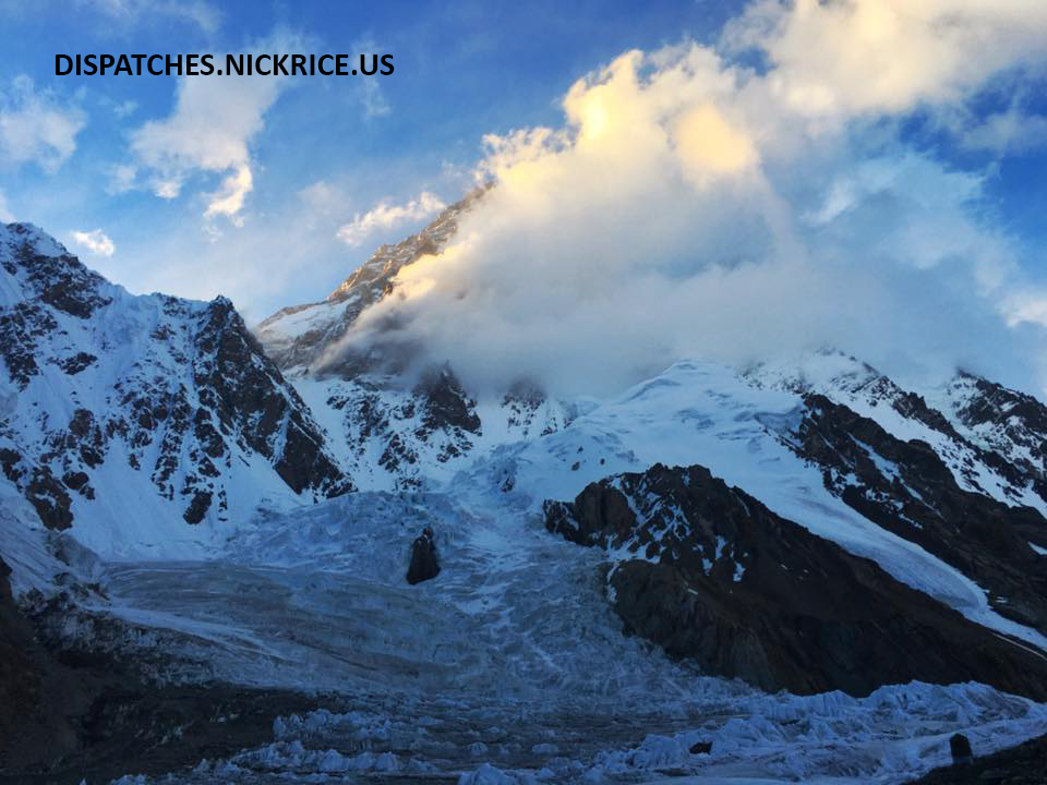 K2 blasted by wind viewed from Base Camp