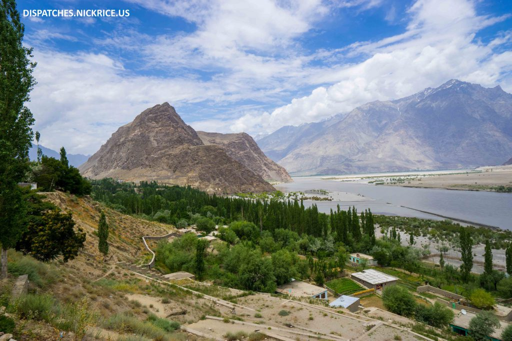 The beautiful view of Skardu and the Kharpocho Fort (Skardu Fort) from the garden of my hotel