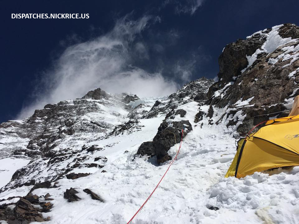 The steep route above Camp II with winds blasting the upper mountain