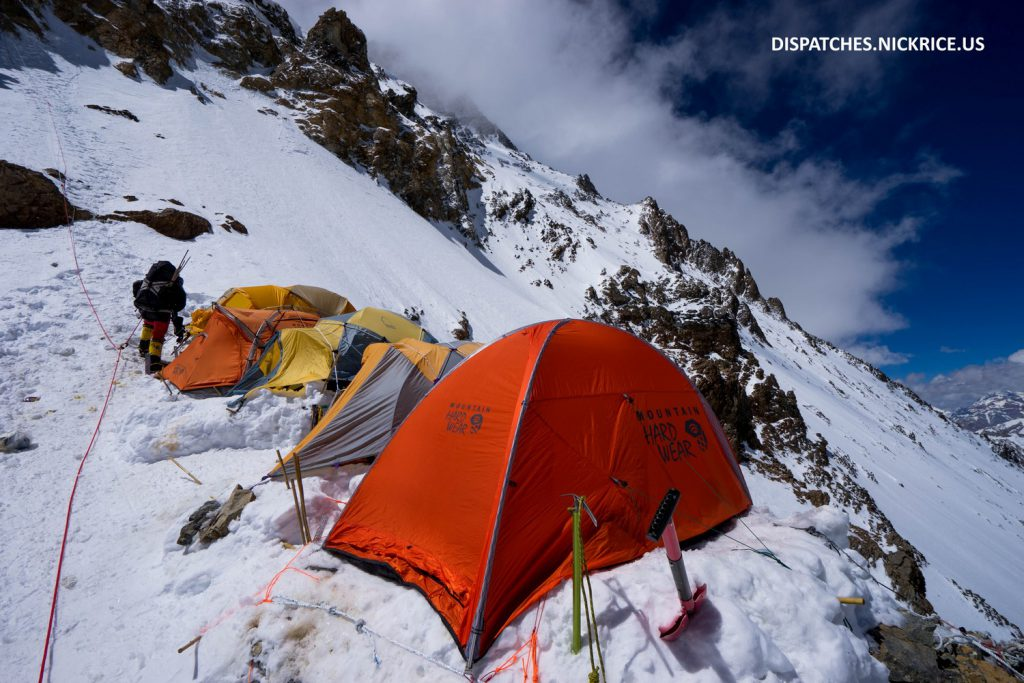 My tent (the one right on the edge) in lower Camp II