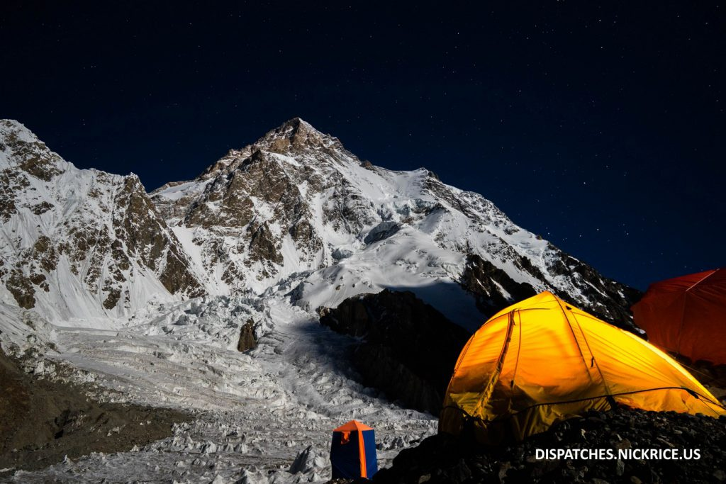 K2 viewed from Base Camp on a clear night